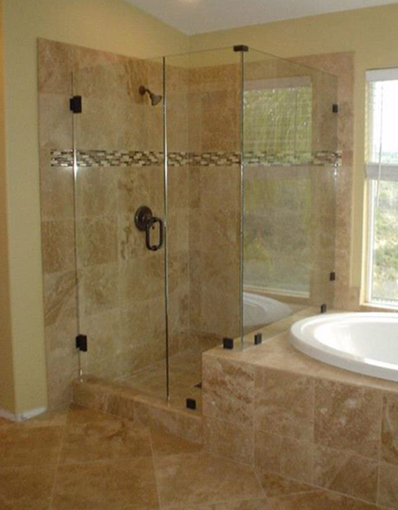 Shower door glass best choice corner shower for Pictures of bathroom tile designs