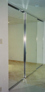 crome colored mirror doors