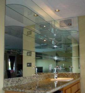 wall mirrors with glass shelves