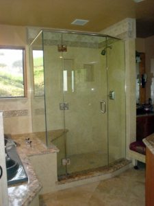 irregular glass shower door enclosure