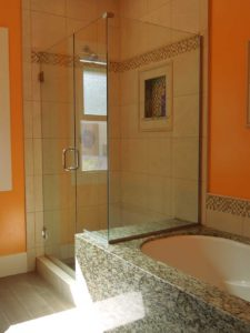 shower enclosure notched glass