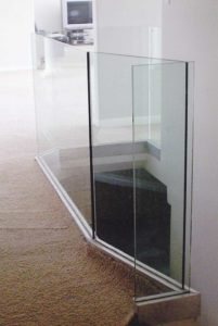 glass wall around stair well